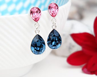 Navy blue bridal crystal earrings Sterling Silver Swarovski teardrop crystal earrings Rose pink wedding bridesmaids jewellery gift 3