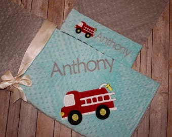 FireTruck Nap Set - Personalized Minky Blanket and Pillowcase with embroidered FireTruck - Travel or Standard Size