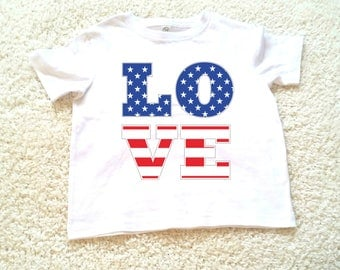 4th of July  American Flag Love graphic kids Tshirt. Sizes 2T, 3t, 4t, 5/6T funny graphic kids shirt