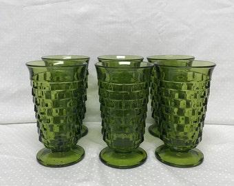 Set Of Six Indiana Glass Whitehall Avocado Green Ice Tea Footed Tumblers