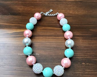 Baby necklace, pink mint and white, baby girl jewelry, chunky necklace, girl necklace, infant girl necklace, birthday necklace