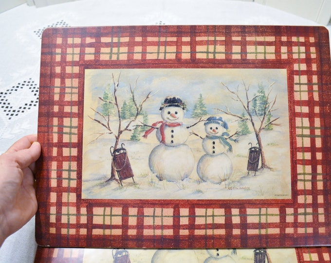 Vintage Pimpernel Placemat Set of 8 Snowmen Winter Scene Holiday Christmas Red Plaid PanchosPorch