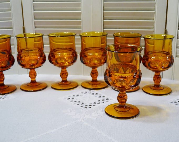 Vintage Amber Kings Crown Wine Glass Set of 7 Goblet Retro Glassware Stemware Indiana Glass Co PanchosPorch