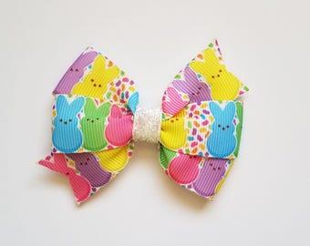 Easter Peeps Hair Bow/hair clip/ girls hair bow/baby girl/Easter Hair Bow/Spring/Easter bow/Baby Girl Bow/Hair Accessories/Peep