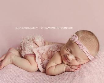 Newborn Lace Outfit, Newborn Photo Prop, Baby Girl Prop, Top & Panties, Baby Picture Prop, Newborn Romper, Newborn Props, Dusty Pink, 020