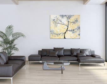 """T R E E - FINE ART TREE painting 40x32 inches: """"Tree style"""" Handpainted Wall Decor By German Artist MartinK. Original Canvas Artwork Design"""