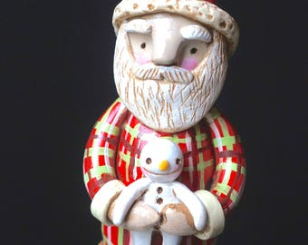 Santa Christmas Decoration holding snowman doll original folk art sculpture