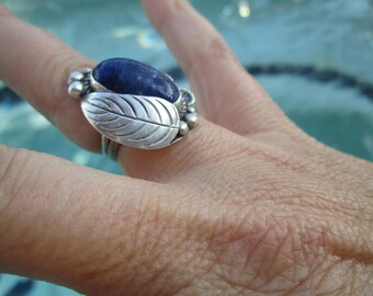 Lapis and Sterling Silver Feather Ring Size 4.75
