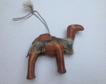 Vtg 60s Leather Stuffed Dromedary Camel Souvenir Figurine, Kenya, Made in Africa