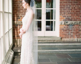 sheer wedding veil, 1 tier wedding veil, tulle bridal veil, fingertip veil, chapel veil, ivory veil, cathedral veil - QUINN