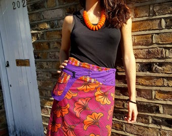 Free Size Reversible Wrap Cotton Knee Length Skirt on RED  and ORANGE patterns Print