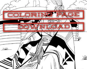 Navajo woman coloring page