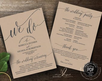 We do Wedding Program PDF card template, instant download editable printable, Ceremony order card in calligraphy rustic theme (TED351_2)