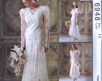 Size 14 Wedding Dress Sewing Pattern - Drop Waist Flapper Style Wedding Dress - Lace Retro Bridal Gown - Alicyn Exclusives - McCalls 6848