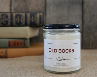 Old Books - Book Inspired Scented Soy Candles -  8oz glass jar