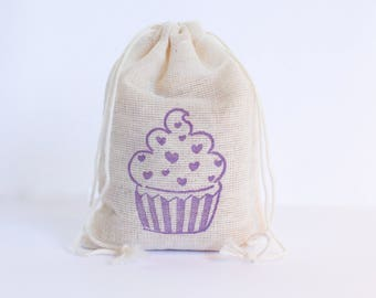 Cupcake with Hearts Decor Set 6 birthday party decor goodies treat bag