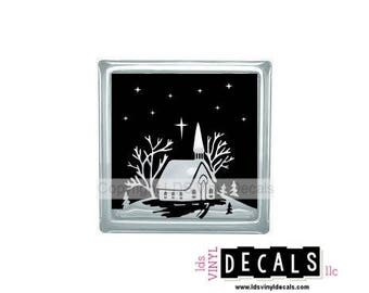 Winter Church Scene (with stars) - Christmas Vinyl Lettering for Glass Blocks - Holiday Craft Decals