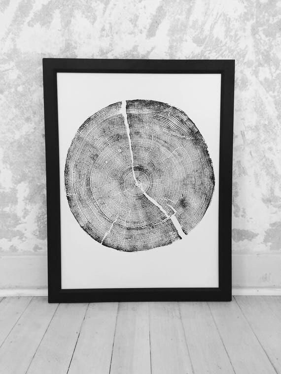 Rock Canyon Pine, Tree stump Print, Woodcut print, tree ring art print, Christmas gift, Thanksgiving art, holiday art, Dad gifts, mom gifts