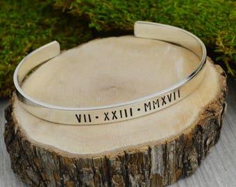 Roman Numeral Bracelet in Aluminum Brass or Copper with Custom Date