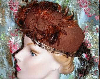 Vintage 50's Brown Pillbox Hat. Fall Winter Toque. Fur Felt Hand Finished. Pheasant Feather Mandala Flourish. Chenille Dot Net Accent.  21