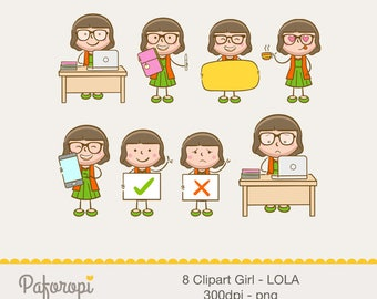 8 Doodle Girl Character Clipart - Working Girl - LOLA - for Planner Stickers - Digital Files