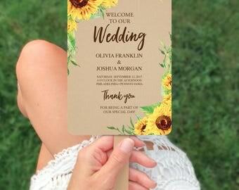 Wedding Programs - Wedding Program Template - Sunflower Wedding Fan Program - Editable Wedding Program - DIY Program - Instant Download