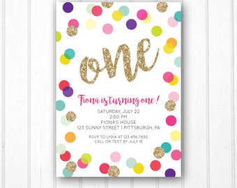 First Birthday Invitation - Polka Dot Birthday Invitation - Gold Glitter Invitation - Girl - Rainbow - Printable File