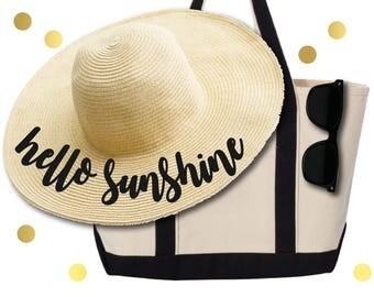 Personalized beach hat. Do not disturb straw hat. Hello Sunshine Straw hat. Nautical Straw hat