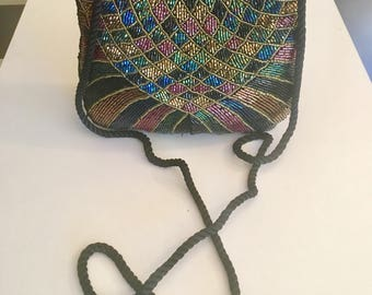 Cadaz beaded purse,Art Deco Beaded Purse, Bag, Shoulder Bag, Black, pink,gold,green, Formal purse