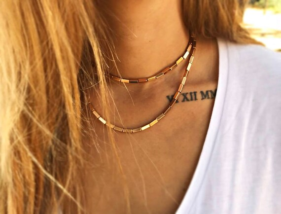 """Double Choker """"Stellar"""" • Layered Necklaces •  Rose Gold Plated Brass • Beaded Necklace • Black Cord Necklace • Gifts for her"""