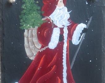 SPANISH SANTA Slate, Old World Santa with Spanish Christmas Greeting
