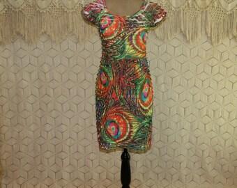 Colorful Dress Psychedelic Print Dress XS Small Short Sleeve Midi Dress Womens Dresses Day Dress Jersey Knit Ruffle Dress Womens Clothing