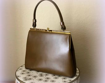 60s Cocoa Brown Handbag - Top Handle Vintage Purse - Faux Leather - Fabric Lining - Gold Tone Hardware - Very Classy