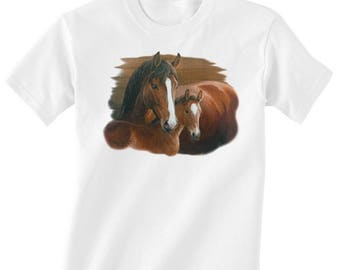 Toddler / Kids Equestrian Shirt - Long or Short Sleeve T-Shirt with Bay Mare and Foal - Horse Clothing for Children