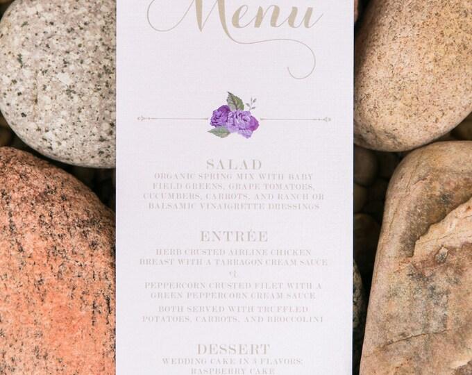 Purple Flowers Lavender & Gold Florals Formal Modern Printed Wedding Menu