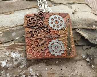 Polymer clay pendant- artistan pendant- handmade-  pendant- gears pendant- abstract pendant- unique pendant- steam punk pendant - moon