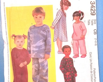 McCall's 3429 - Toddler Pajama Pattern - Sizes 1, 2, and 3 - Boy's and Girls