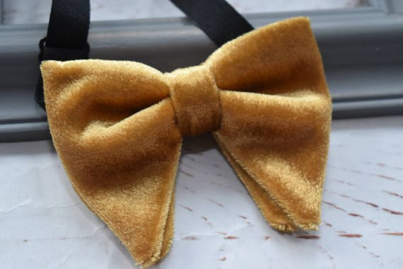 Kids gold velvet floppy / butterfly bow tie  for Baby, Toddlers and Boys (Kids Bow Ties) with Braces/ Suspender