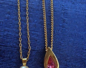 Vintage Avon Pearl Necklace and Pink Teardrop Necklace,Avon Single Pearl Necklace,Avon October Birthstone Necklace,