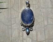 Kyanite And Rainbow Moonstone Pendant, Set In Solid Sterling Silver, Energy Clearing Dark Blue Kyanite