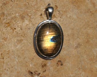 Medium Size Golden Labradorite Pendant Bezel Set In Solid Sterling Silver, Hand Selected Stone, Semi Precious Gemstone Jewelry FOS116