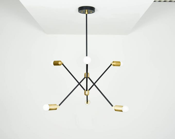 Modern Chandelier Gold 6 Arm Pinwheel Bulb Matte Black and Raw Brass Sputnik Mid Century Edison Industrial Light Lighting Modern UL Listed