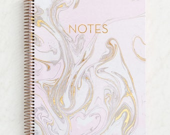 Pink + Gold Foil Marble Spiral Notebook, Back To School, Preppy, Office  Supplies