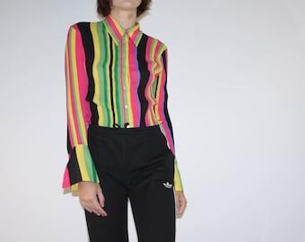 Medium - Bright Color Blocked Striped Sheer Blouse