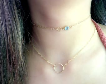 14k gold filled Circle Necklace Eternity Necklace Eternity Jewelry Karma Ring Necklace Circle Ring Necklace Eternity Necklaces Birthstone