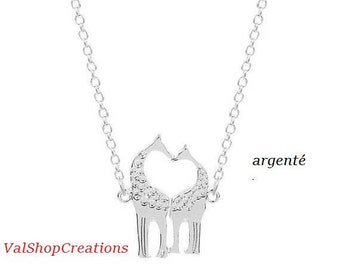 Silver giraffe Couple necklace