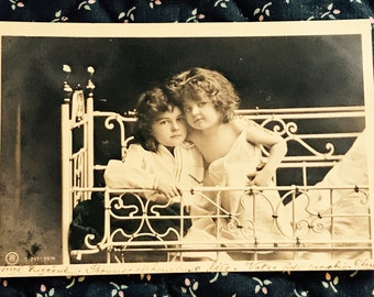 Antique 1900s Portrait Postcard, Two Adorable Little Girls Posing In Bed, Vintage Post Card Collectible.