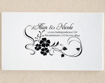 Hibiscus Floral Frame Personalized Custom Name Wedding Returned Address Mounted Rubber Stamp Pre-inked Stamp Self inking Stamp RE693