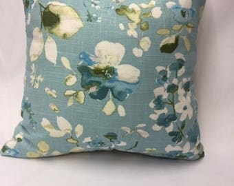 Shades of Green, Teal, & Blue Watercolor Flowers Decorative Pillow Cover