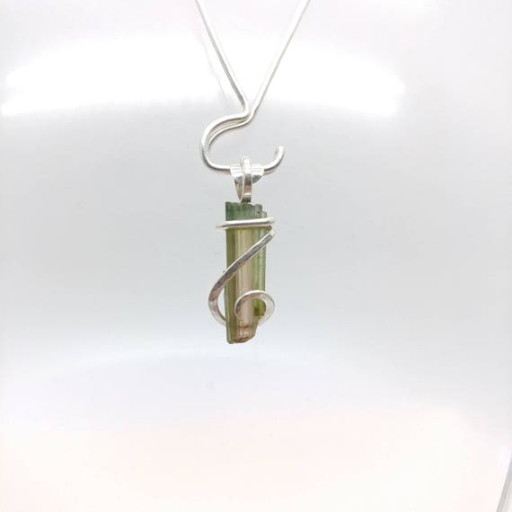 Raw Watermelon Tourmaline Pendant | Sterling Silver Pendant Necklace | Rough Tourmaline Pendant | Tourmaline Jewelry | October Birthstone